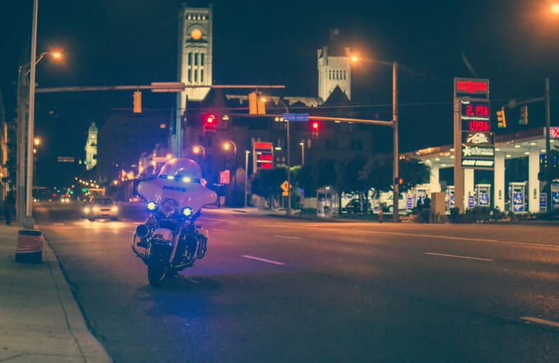 police motorcycle at night